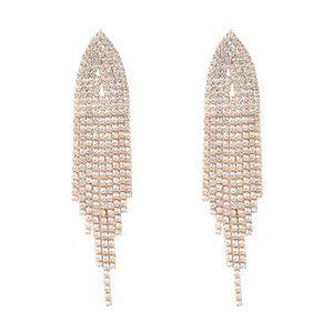 Gold Shimmer Vintage Style Tassel Earrings NIP